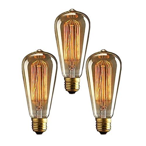 Vintage Edison Glühbirne Glühlampe E27 ST64 40W Wolfram Bulb Antik Für Squirrel Cage Retro...