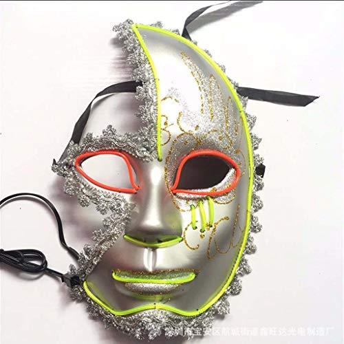 Person Halloween Kostüm Drei - Me Furchterregende LED-Halloween-Maske, Leuchtmaske Cosplay, LED-Rave-Gesichtsmaske Kostüm 3 Beleuchtungsmodi, Halloween-Gesichtsmasken Für Männer, Frauen Und Kinder,Rosa