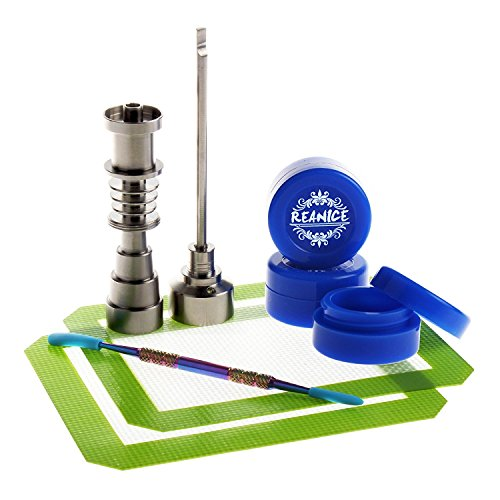 REANICE BOX 1-PACK Titan Nail 10mm/14mm/18mm Nail und weiblich Bong Percolator Rig + 3-PACK Non Stick Silikon Wachs Dab Boxcontainer+ 1-PACK Öl Wachs Carving Tools Edelstahl + 2-PACK-Antihaft-Silikon-Matte-Pad