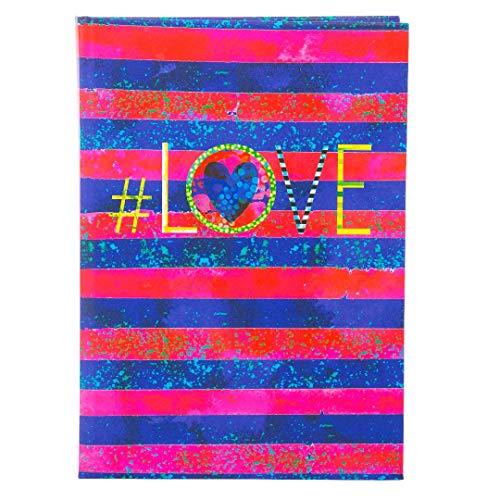 Goldbuch Notizbuch A5, # (Hastag) Love, 200 chamoisfarbene Blankoseiten, Kunstdruck, Blau/Rot, 64301