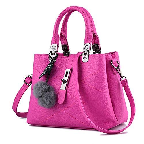 Young & Ming - Donna Borsa a spalla Borsa Tote Borsa a Mano in pelle Handbag con fuzzy ball Rosarossa