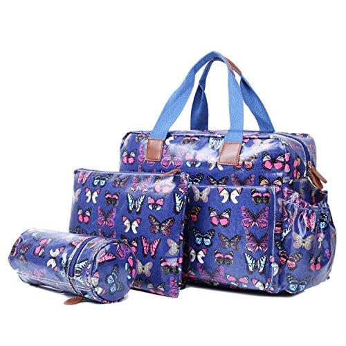 Miss Lulu 4PCS Baby Windel Windel Wickeltasche Set große Tragetasche Handtasche Schmetterling Blume Polka Dots Elefant Hund Katze Vogel Print Butterfly Navy