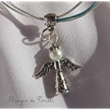 Magie di Trilli_ Collana con ciondolo artigianale angelo custode perla e argento tibetano: regalo per Pasqua e Comunione
