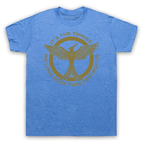 Hunger Games Mockingjay Things We Love Most Destroy Us Herren T-Shirt Jahrgang Blau