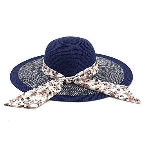 HGYIO Wilder Strandhut der Mädchen, Feiertagssonnenblende, dunkelblauer Modestrohhut,darkblue