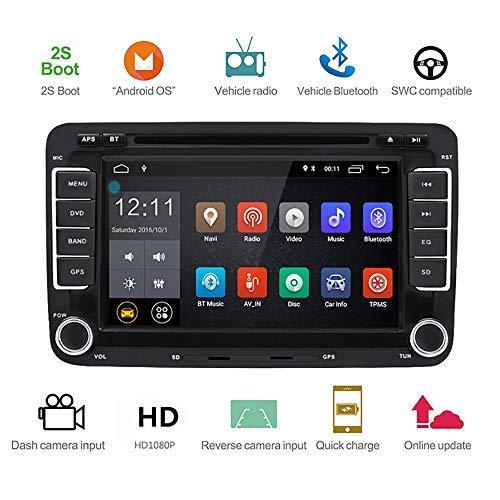 L&Z 7 Zoll 2 Din Auto Stereo, für VW Golf Skoda Seat mit Wince System DVD Player GPS Navigation FM AM Radio Bluetooth USB SD unterstützt Park Kamera Lenkrad Bedienung 1024P Video 16GB Kartenmaterial