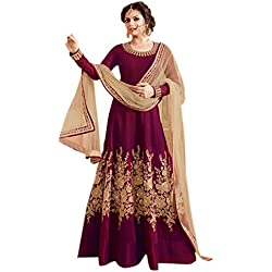 Alka Tapeta Silk Fabric Embroidery Anarkali Suit For Women (Free Size_Maroon)