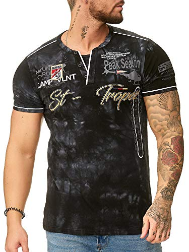 "OneRedox Herren T Shirt Hoodie Longsleeve Kurzarm Shirt Sweatshirt ""St.-Tropez"" 3394 Schwarz M"