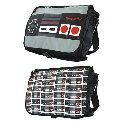 Nintendo Controller Logo Video Game - Men's Black Messenger Shoulder Retro Bag by bioworld