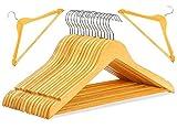 20 Kleiderbügel aus Holz Natur mit Steg | Garderobenbügel Holzbügel | 360 ° drehbarer Haken mit Hosenstange STAR-LINE®