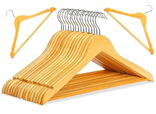 20 Kleiderbügel aus Holz mit Hosenstange und zwei Rock Kerben + 360 Grad Drehbar Holzbügel Garderoben Bügel Hosen Halter STAR-LINE®