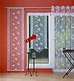 Kreta Fensterbehang Viora weiß Schiebevorhang Flächengardine Fenstervorhang fertig genäht mit Zierstange (140 cm hoch / 80 cm breit)