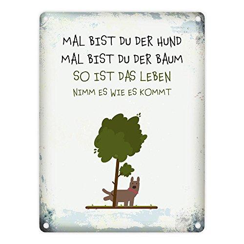 trendaffe - Metallschild mit Spruch: Mal bist du der Hund mal bist du der Baum