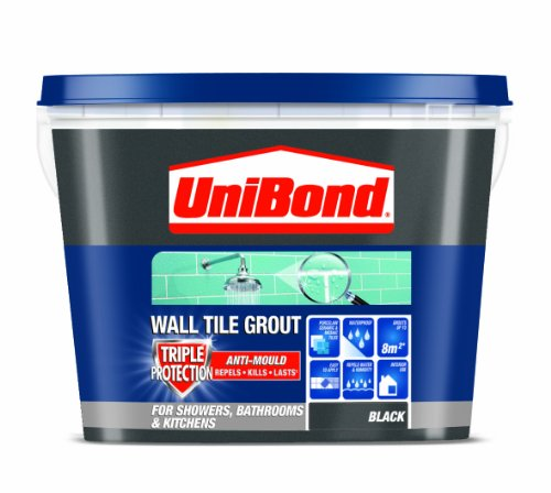 UniBond Triple Protect Anti-Mould Wall Tile Grout - 1.38KG, Black