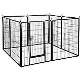 Yaheetech Welpenlaufstall Tierlaufstall Freigehege Hunde Laufstall aus 8 Panelen, je Panel 80 x 100 cm