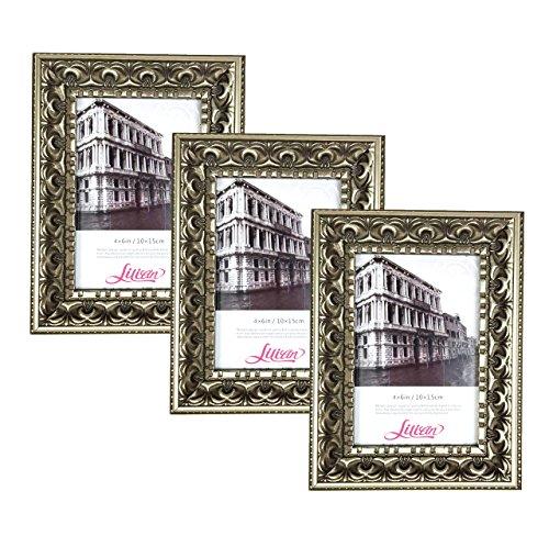 Lilian Antik Gold Display 5x 7Schreibtisch/Wand Foto Rahmen-Wandmontage Material im lieferumfang enthalten (3er Pack) (Rahmen 5x7 Gold-antiken)