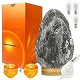 Omonic sehr seltene graue Himalaya-Kristalllampe mit Dimmertaste - komplett natürlich und handgefertigt mit Premium-Bambussockel mit 1 Salznachtlicht, 2 Stück, Roi Gris(3-5kg) 220.00volts