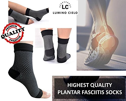 Lumino Cielo All-Day Compression Socks for Plantar Fasciitis Pain Relief and Ankle Support, Small/Medium (Black)
