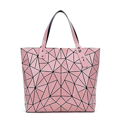 WU Zhi Damen Geometrisch Lingge Handtaschen Schultertaschen Pink