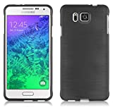 Cadorabo Hülle für Samsung Galaxy Alpha - Hülle in SCHWARZ – Handyhülle aus TPU Silikon in gebürsteter Edelstahloptik (Brushed) Silikonhülle Schutzhülle Soft Back Cover Case Bumper