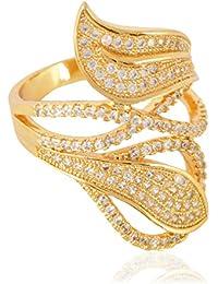 Sanaa Creations American Diamond Gold Plated Ring For Women Fashions Jewellery