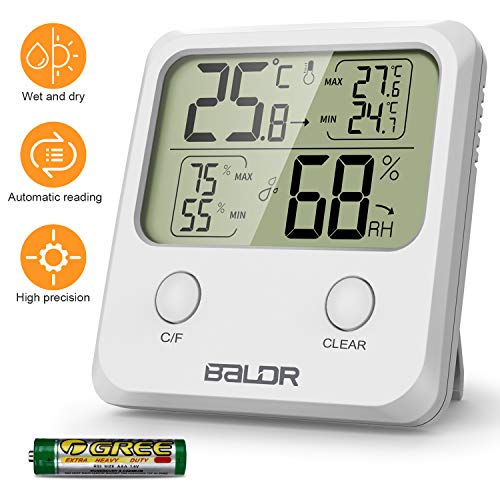 WisFox Termómetro Higrómetro Digital, Higrómetro Digital de Temperatura Interior con Monitor de Pantalla...