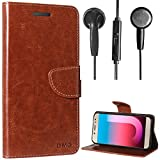 DMG PU Leather Wallet Flip Book Cover Case with Card Slots and Magnet Closure For Samsung Galaxy J7 Pro ( Brown ) + Black Stereo Earphone with Mic and Volume Control