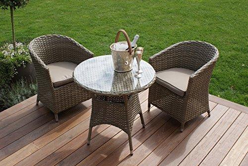 Aston Rattan Garten Möbel 2Sitz rund Esszimmerstuhl Bistro Set beige Kissen