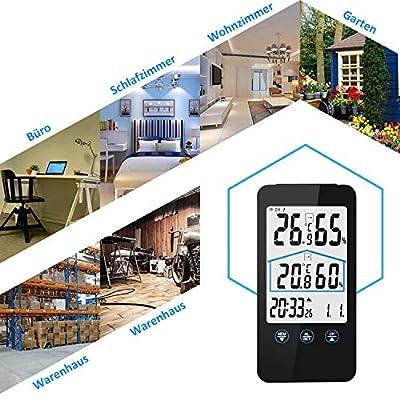 Wetterstation, kunfuren Funk Wetterstation mit Außensensor, Digital Innen und Außenthermometer Hygrometer, LED-Anzeige, Wettervorhersage mit Alarmgrenzen/Symbolen, DCF Empfangssignal,Uhren von Weipao EU Direct - Lampenhans.de