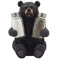 Decorative Black Bear Glass Salt and Pepper Shaker Set with Display Stand Holder Figurine Sculpture for Rustic Lodge and Cabin Kitchen Table Decor Centerpieces & Spice Rack Decorations or Teddy Bear Gifts by Generic
