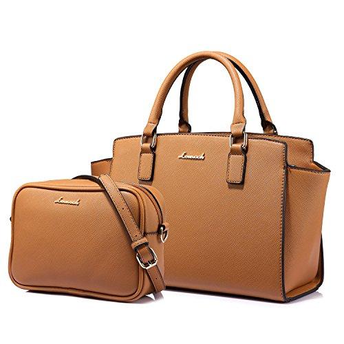 Strukturiert Handtaschen Damen Schulter Taschen + Umhänge Tasche 2 Stück Set(Braun)