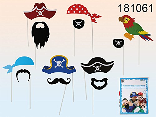Partito Pirata Accessori - 12 colorful Props su un bastone, Compleanno Paty Photo Booth Props - Partito accessori