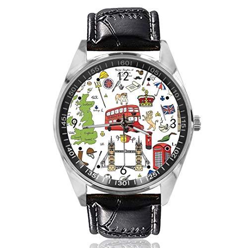 Famoso Reloj de Pulsera de Cuarzo analógico con diseño de Big Ben, Esfera Plateada, Correa de Piel clásica, para Hombre y Mujer