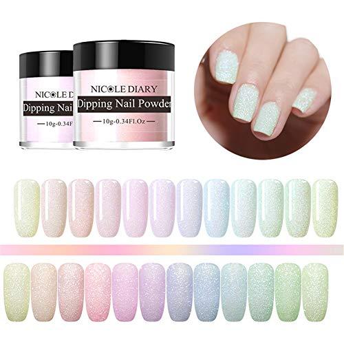 NICOLE DIARY Buntes Dip-Nagelpuder-Kit 12 Farben Acryl-Dip-Nagelpuder Mattglänzendes Glitzerpigment mit französischem Effekt Keine UV/LED-Nagellampe erforderlich -