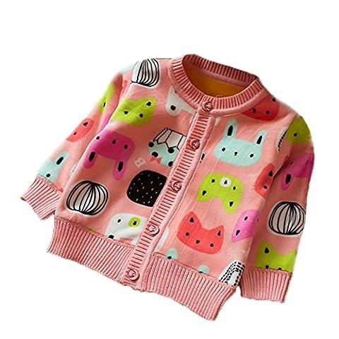 Zhuannian Baby Girls Polar Fleece Cardigan Long Sleeve Cartoon Knitwear Top (18-24months, Pink)
