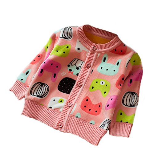 Zhuannian Baby Girls Polar Fleece Cardigan Long Sleeve Cartoon Knitwear Top (18-24months, Pink)