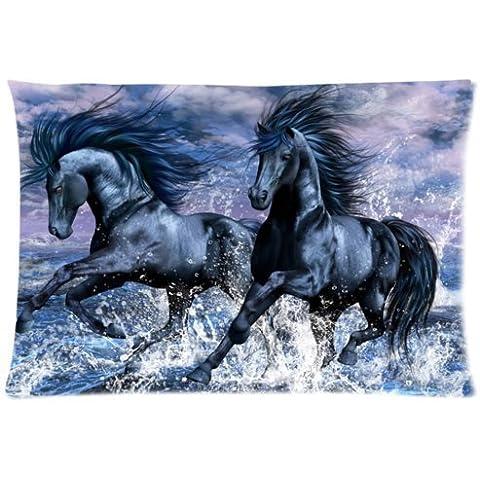 Popular Negro Caballo corriendo en el agua Arte Decorativo Fundas De Almohada Suave Almohada 20