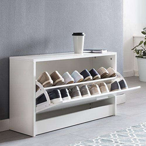 Kadimadesign scarpiera zoe con seduta bianca scarpiera ribaltabile in legno 80 x 47 x 24 cm. panca corridoio stretto con spazio di archiviazione. arredamento per scarpiera, panca per sala da pranzo