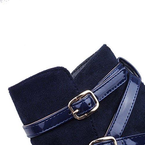AgooLar Femme Haut Bas Couleur Unie Zip Suédé à Talon Haut Bottes avec Boucle Bleu