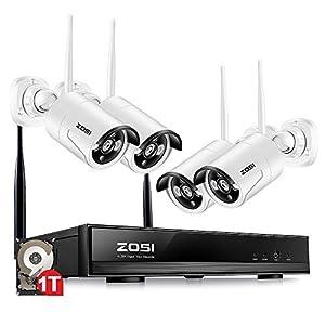 camaras seguridad hogar: ZOSI Sistema de Seguridad 4CH 4 Cámaras 960P WiFi NVR HD CCTV Kit de Seguridad G...