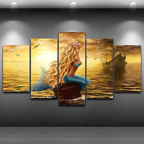 mmwin Dekorative modulare Wandkunst abstrakte Bilder 5 Panel Arbeit Leinwand für Wohnzimmer Schlafzimmer gedruckt