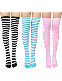 Chalier 3 pares de calcetines largos a rayas para mujeres sobre la rodilla muslo calcetines altos