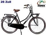 Zonix Damen Hollandrad City Reflex Schwarz Matt 26 Zoll 49cm 3 Gang