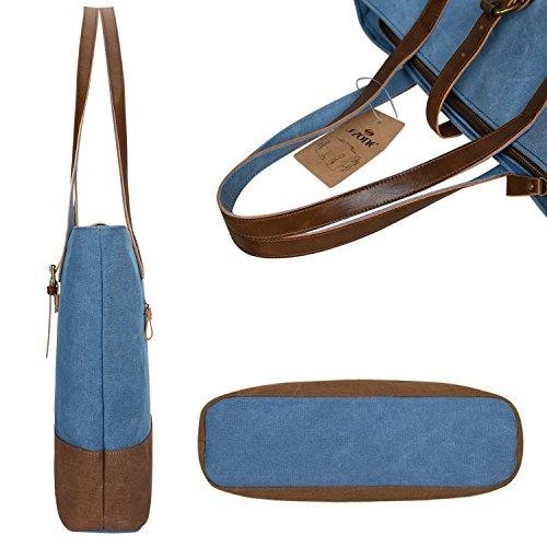 S-ZONE Borsa casuale della borsa delle donne della tela di canapa per i sacchetti di tele del computer portatile da 14 pollici Blu