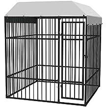 vidaXL Perrera de Exterior Resistente con Techo 2x2 m Negro Jaula de Perro