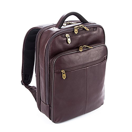Falcon kolumbianischen Leder Rucksack für 15,6Tablet/Laptop-Braun Grain Full Metal