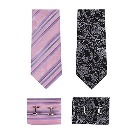 EATF0026 Beau Rayures Hommes Soie Set of 2 Cravates Boutons
