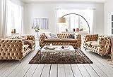 Mobella WELTNEUHEIT ! Designer Chesterfiled Sofa-Garnitur 3er-2er-1er Beige Polyester