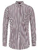 JEETOO Herren Hemd Freizeit Langarm Gestreift Basic Hemd Casual Slim Fit mit Classic Kent-Kragen, (XX-Large, Rot)