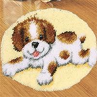 6 Modell Hund Knüpfteppich Formteppich für Kinder und Erwachsene zum Selber Knüpfen Teppich Latch Hook Kit child Rug Dog123 50 by 50 cm